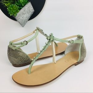 Rodo Leather Sage Thong Sandals 38